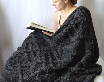Cable Knit Wool Blanket, Cable Knit Afghan, Celtic Cable Acrylic Throw, Housewarming Gift,