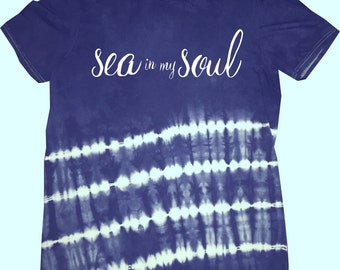 Ocean Tee Sea in my Soul  Short Sleeve S/S Shirbori Indigo Stripe Blame My JJ Roads T-Shirt Ring Spun