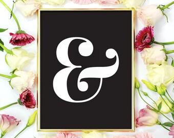 Typography Art Print, Ampersand Sign, Home Decor, Minimalist Modern, Wall Art, Typography Poster, Ampersand Print.