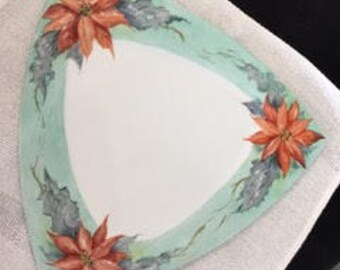 Holiday Plate. Hand painted triangle plate