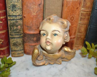 Vintage German Carved Painted Gilded Wood Look Cherub Angel Head with Wings