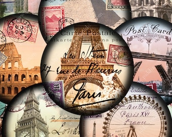 Paris Rome Italy London World Tour -- digital collage sheet 2.5 inch circles Two for pocket mirrors and more -- piddix 876