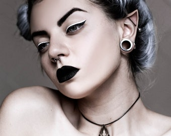 Cat Skull Choker in Old Steel - A steel cat skull on a choker to adorn your neck