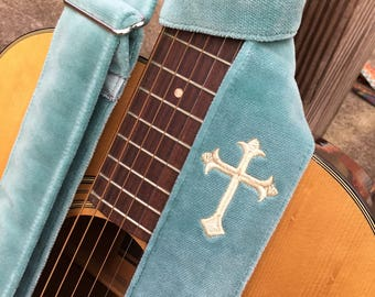 Fanulous Embroidered Cross Guitar or Banjo Strap by Martha Crow