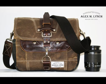 PETITE Waxed Canvas cross body Messenger bag - handmade - FIELD TAN + leather accents 010027