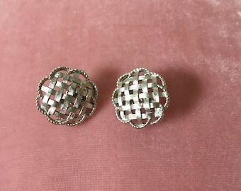 Crown Trifari Signed Lattice Pie Style Vintage Clip-on Earrings c1960s Silver Tone Metal Collectable Costume Jewelry