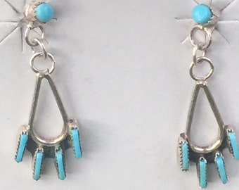 Native American Sterling Silver Turquoise Earring