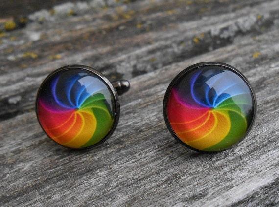 Rainbow Cufflinks. Wedding, Men's Valentine Gift, Groomsmen, Dad, Anniversary, Birthday, ROYGBIV, Gay Pride, Paper