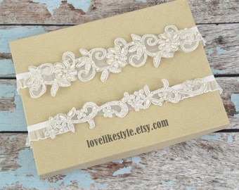Wedding Garter, Light Gold Pearl Beaded Lace Wedding Garter Set, Ivory Lace Garter Set, Light Gold  Wedding Garter, Champagne Wedding Garter