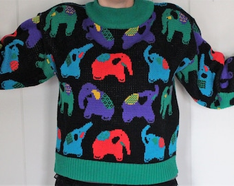 1980's Elephant Sweater - Hipster Sweater - Animal Print - Multicolor - Oversized - Cropped - Ugly Sweater - Tacky - Mr. Noah