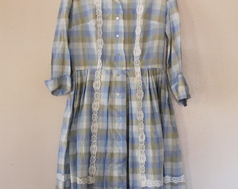Vintage 1950s Light Blue and Brown Plaid Shirt Dress with Lace Trim Size Medium Bust 36