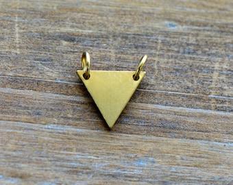 1 - Tiny Triangle Geometric Charm Link Brushed 24k Gold Plated Stainless Steel Geometric Layered Charm Minimal Jewelry Pendant (AQ008)