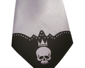 Mens necktie print to order in colors of your choice Skull tie design by RokGear