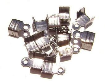 Cord Ribbon End Tip Fold Over Clasp Crimp Bead Stopper Gunmetal Shiny Black Large 10x6mm (5x5mm workspace)  - 100 Qty