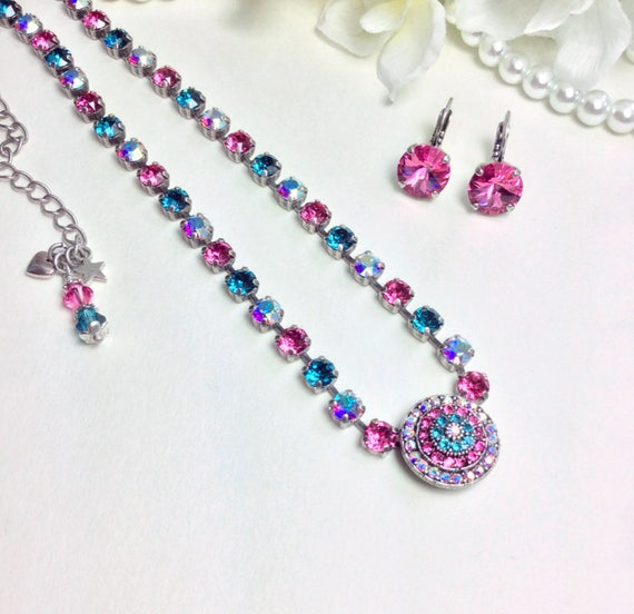 """Swarovski Crystal 6mm and Gorgeous 20mm """" Rosetta """" Center - Choose Your Own Custom Colors-  FREE SHIPPING"""