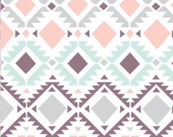 Smooth Minky Fabric by the yard Coral Mint Gray Plum. Girl Tribal print nursery fabric.