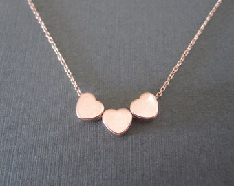 Triple Tiny Rose Gold Heart Necklace
