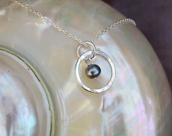 Petite Fine Silver Necklace with Small Black Pearl