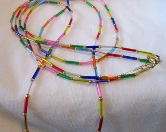 """Necklace double strand multi colored rainbow of beads 24"""" to 28"""" long #1488"""