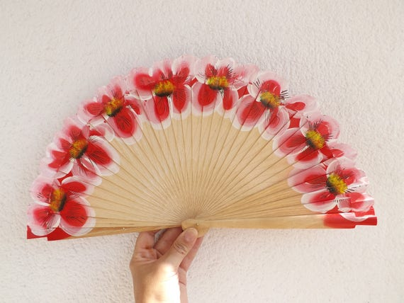 Red Large Flowers Flamenco Dancer Design Spanish Hand Fan Limited Edition