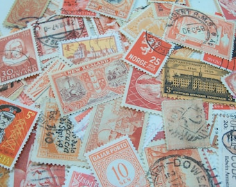 40 Orange Postage Stamps, Used Postage Stamps, Stamps, Vintage Stamps, Halloween Crafting