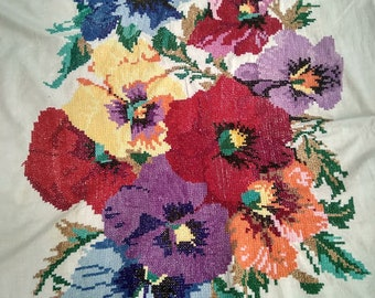 Vintage  Hand Made Embroidered Embroidery Needlepoint Wall Art Picture  1950's-1960's Original