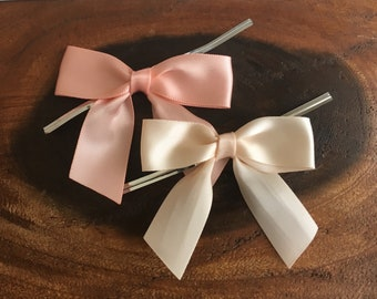 12 Peach or Lychee Pre-made Bow Embellishments