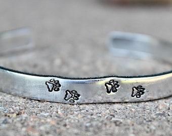 Paw Prints Cuff Bracelet, Paw prints Bangle, Gift for Dog Lover, Pawprints, Paw Print Bracelet, Dog lover Jewelry, Pawprints Bangle Cuff
