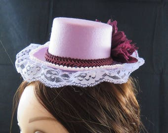 Light Purple and Burgundy Mini Top Hat Fascinator.