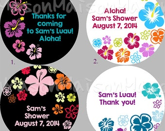 """Personalized Party Labels - Thank you Labels - Favor Labels - Luau Stickers - Tropical Flower Mason Jar  1.5"""", 2"""" or 2.5"""" round"""