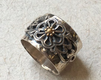 Sterling silver gold band, Bohemian ring, floral ring, flowers ring, simple band, wide band, floral band, boho ring - A special day R2385