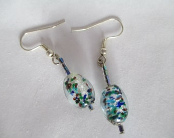 Earrings, Jewelry, Stocking Stuffers, Christmas, Holidays, Multi-colored Cylinder Glass Earrings  - Delicate and Pretty