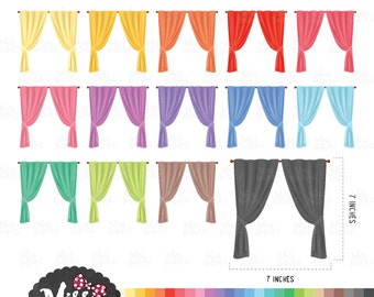 30 Colors Curtains Clipart - Instant Download