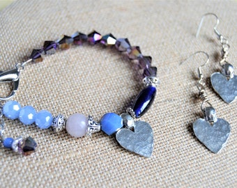 PERIWINKLE BLUE and PURPLE  Silver Pewter Heart Bracelet  Large Clasp Matching Pewter Heart Earrings