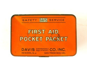 Vintage First Aid Pocket Packet Kit, Complete in Original Tin (c.1920s) - Collectible First Aid Pocket Tin, Cabin Decor, Man Cave