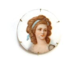 Vintage Old Round Porcelain Portrait Brooch 18th Century Georgian Lady