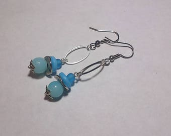 Earrings metal and glass beads ~ ~ blue ~ ~