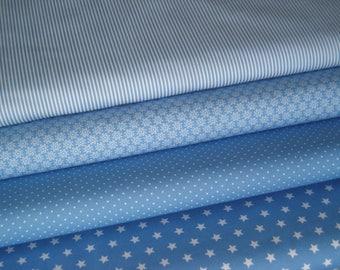 Fabric light blue 4 substances 50 x 145 cm
