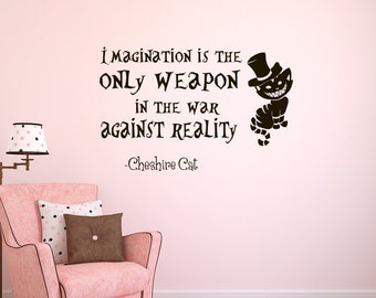 Alice in Wonderland Wall Decal Cheshire Cat Quote Imagination Is The Only Weapon Wall Sayings Vinyl Decals Stickers Bedroom Dorm Decor Z320