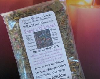 BEAUTÉ bénédiction bain de trempage de BRIGID ~ encens à base de plantes florales bavures ~ coulée herbes 1oz, sac de mousseline, charbon de bois disque