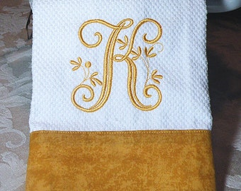 Monogrammed Kitchen Towel with Gold Trim