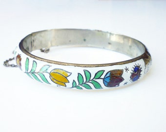 Siam Sterling Enamel Bangle Bracelet - White Enamel, Tulip Daisy, Flower Bracelet, Vintage Bracelet, Vintage Jewelry