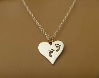Baby Footprints Necklace on Heart Pendant - Heart Necklace - Valentines Day Gift - Mom Necklace - Heart Charm Silver