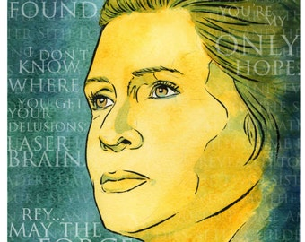 """CLEARANCE 8 x 10"""" Print of Carrie Fisher as General Leia Organa"""