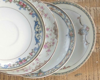 Mismatched Noritake Saucers Set of 4 Plates for Wedding Bridesmaid Luncheon Tea Party