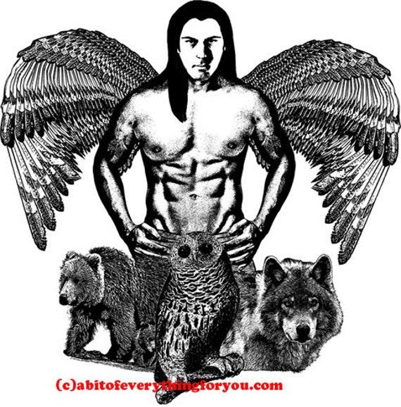Indian angel man printable art print wolf bear owl animal spirits digital download graphics images black and white downloadable artwork