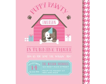 Girl Puppy Party Invitation, Pink Puppy Pawty Birthday Invitations, Dog Party Invite, Printable or Printed