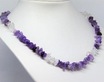 Necklace amethyst en rock-cristal quartz gemstones