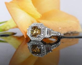 Zircon Ring, Zircon Sterling Ring, Natural Zircon Ring, Zircon Silver Ring, Gemstone Ring, Gemstone Sterling Ring, DIamond Alternative