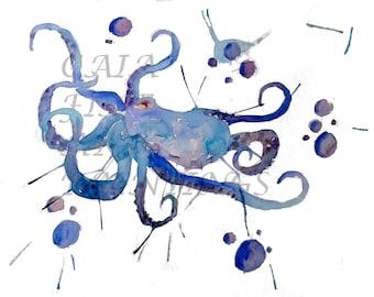 Watercolor Ocean Octopus Print Digital Download Ocean Sea Creatures Blue Water Fine Art Painting Nautical Beach Decor Print Clip Art
